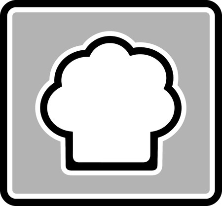 chef hat silhouette on gray icon - restaurant symbol Vector