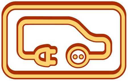 car plug: yellow electrical vehicle icon - ecology transport symbol Illustration