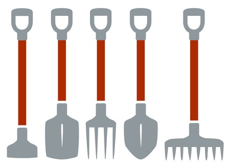 isolated tools on white background for gardening work
