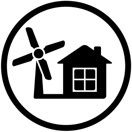 windturbine: black round wind mill icon on white background for home alternative power