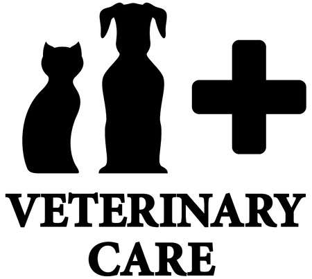 pet care: black veterinary care icon with pet and medical cross