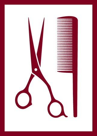 male grooming: isolated comb, scissors silhouette - hair care pink icon Illustration