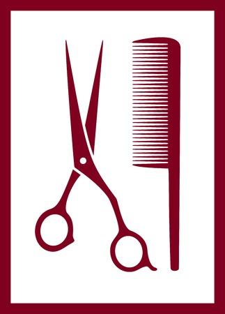 peigne et ciseaux: peigne isol�, ciseaux silhouette - soin des cheveux ic�ne rose Illustration
