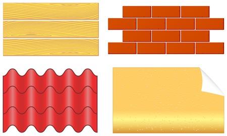 planches de bois isolées, briques, bardeaux de plis et set de papier peint pour la réparation à domicile