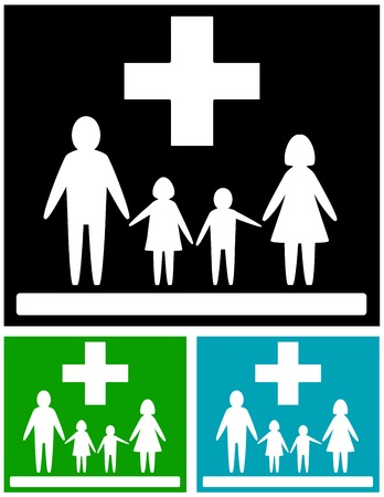 infirmary: isolated set, colorful medical icons for family health care
