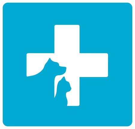 isolated blue veterinarian symbol with pet silhouette