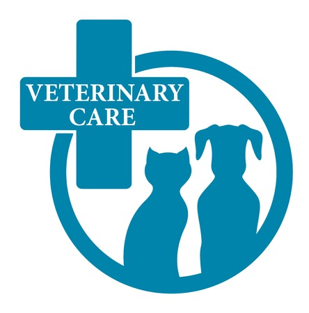 cat call: blue medical veterinary round sign with pet