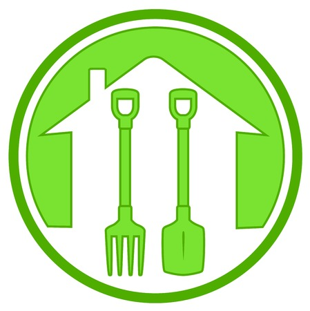 lawnmower: green icon with home silhouette and gardening tools