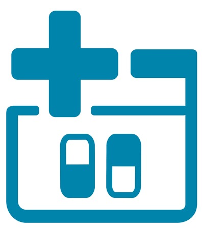 blue medical icon with pills and cross silhouette Vector
