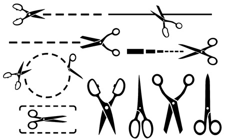 black scissors set with dotted line isolated silhouette