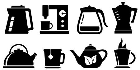 black appliances: set black kettle icon for coffee and tea appliances