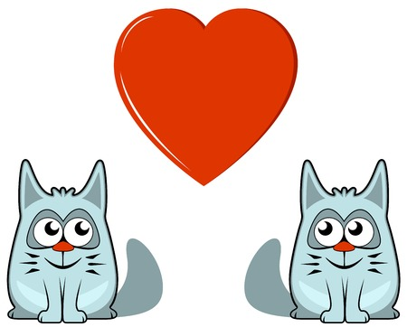 two isolated cats with big red heart Vector