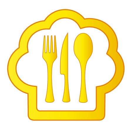 commercial kitchen: isolated gold cook hat icon with kitchen utensil
