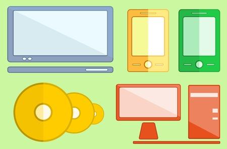 televisor: set isolated digital objects on flat style design