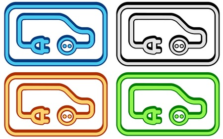 set electric car icon on colorful frame Vector