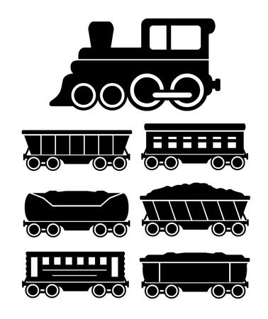 set black icons with train cars for travel or cargo delivery