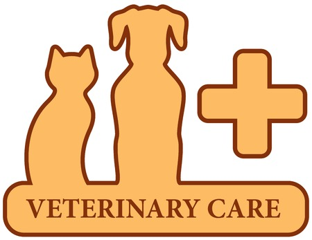cat call: brown isolated veterinary care symbol with medical cross
