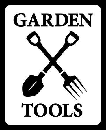 isolated black icon with garden tools silhouette Vector