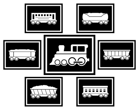 set black icons with train and cars for railway transportation Vector Illustration