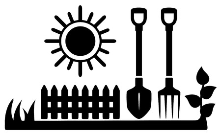 black icon with sun and gardening tools silhouette Vector