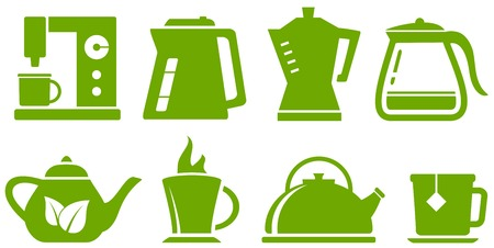 percolator: isolated green set with percolator, teapot and cup