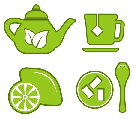 tea strainer: isolated green tea set with kettle, lemon, sugar and cup Illustration