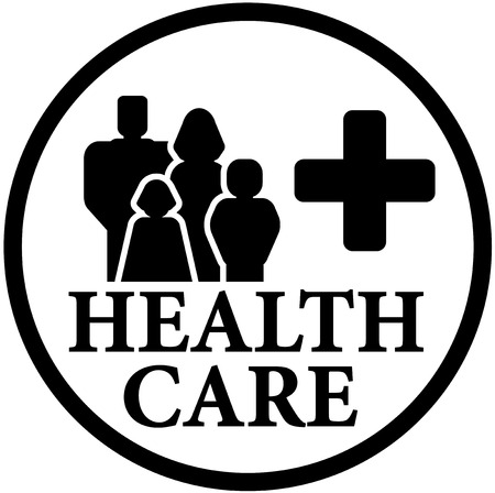black family: round black health care icon with family silhouette