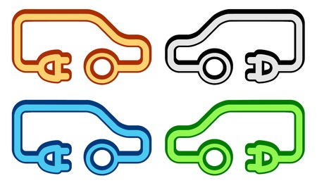 isolated set with colorful electrical vehicle icon Vector