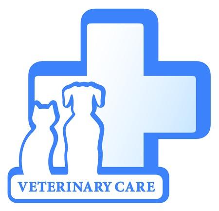 vecteur vétérinaire symbole isolé avec un chien, chat et croix médicaux