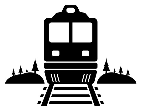 rail road black icon with moving train Vector