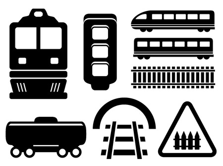black isolated objects for rail road icons set Vector
