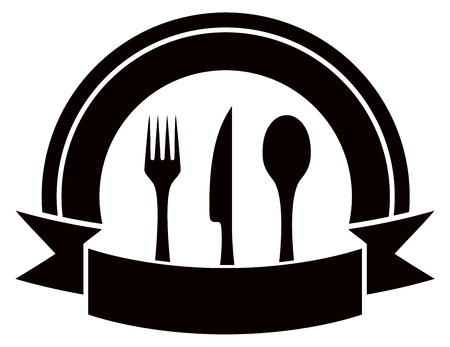steward: black restaurant invitation icon with table ware and tape