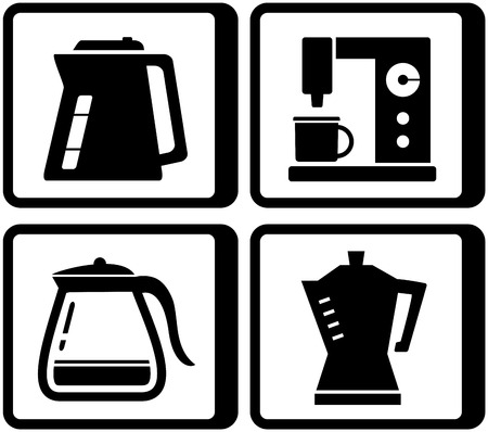 percolator: set black icons with kettle and percolator