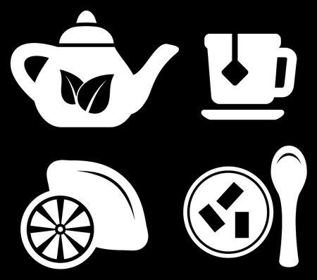 tea strainer: set white tea objects on black icons Illustration