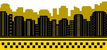 yellow cab: taxi city background with urban landscape silhouette