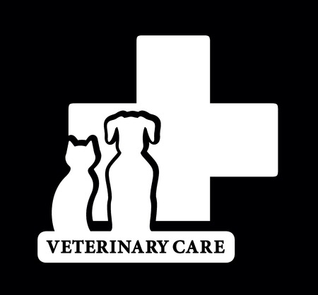 black vector veterinary icon with white pets silhouette