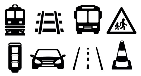 black isolated road icons set for transport industrial Vector
