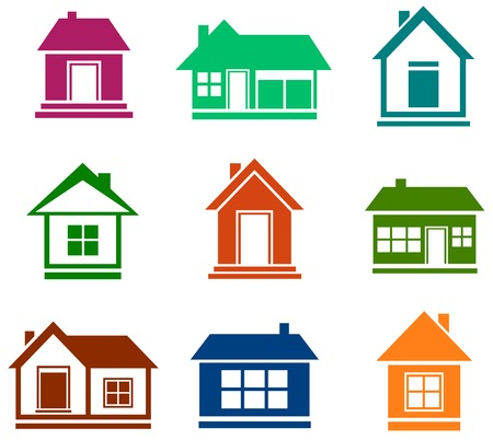 garage on house: set isolated flat design colorful cottage icons Illustration