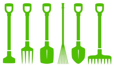 six isolated green gardening tools set on white background Vector