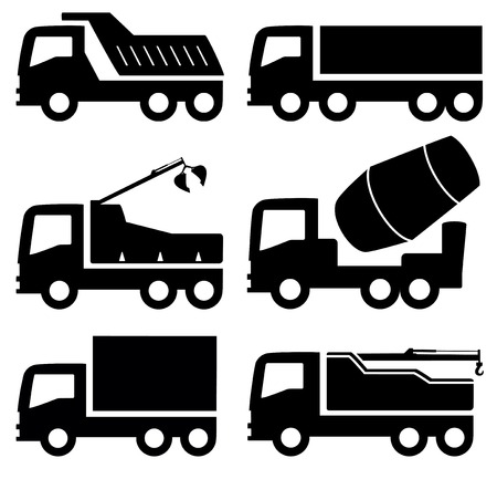 cisterns: black six isolated industrial trucks icons set