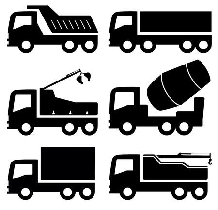 dump body: black six isolated industrial trucks icons set