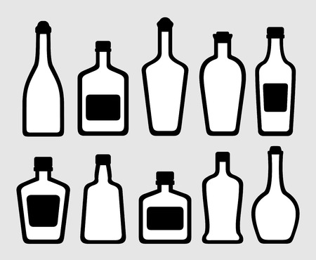 wine trade: set of isolated alcohol bottles silhouette icons