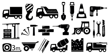 agrimotor: set black industrial construction objects on white background