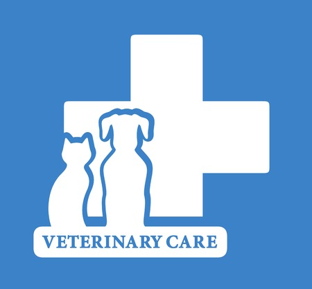 cat call: blue veterinary care icon with white pet silhouette