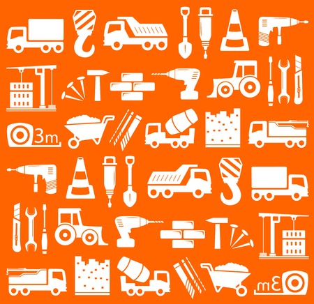 construction background: yellow construction background with industrial equipment white silhouette Illustration