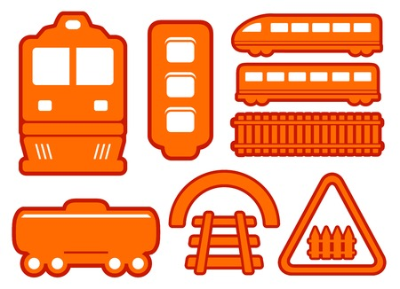 isolated yellow rail road icons set on white background Vector