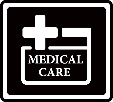 infirmary: black icon with medical care white symbol