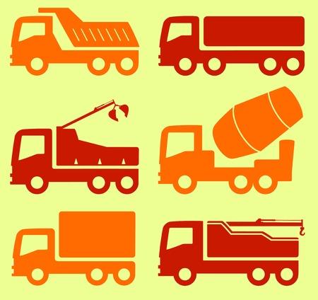 camion grua: aislado amarillo y rojo juego de transporte industrial