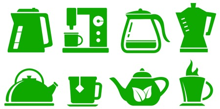 percolator: green isolated icons kettle set for coffee or tea