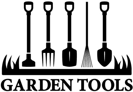 landscaping black icon with set garden tools Vector